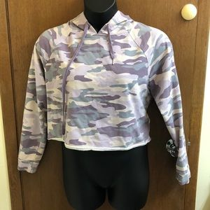 wild fable | purple camo cropped hoodie